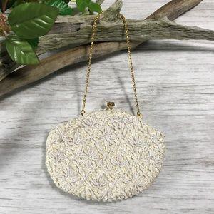 Vintage Cream Sequin Bead Evening Hand Bag Purse
